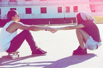 friends, girl boy, hand, skateboard, summer, sun