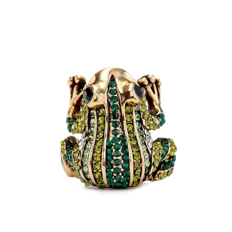 frog rings, gold frog rings, green frog rings and pave frog rings