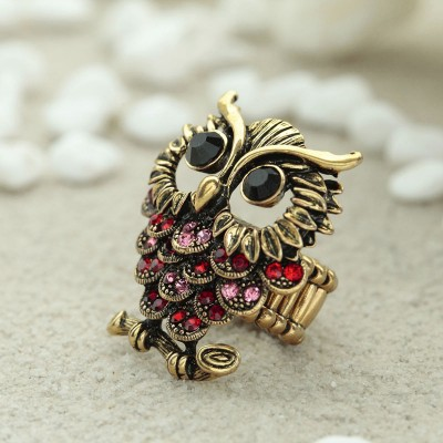 antique gold owl rings, gold owl rings, owl statement rings and rhinestone gold owl rings