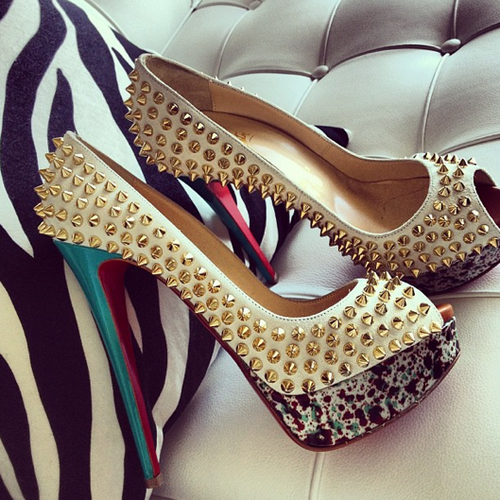 Gold Spike Shoes