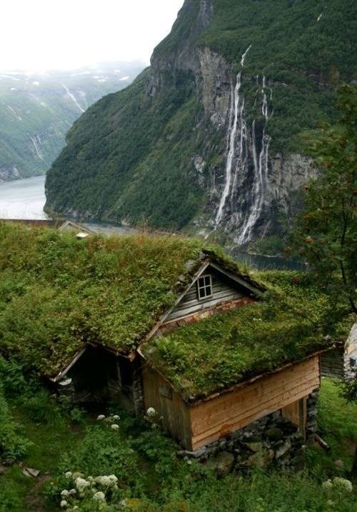 Nature house waterfall image 733623 on - Build green roof nature home ...