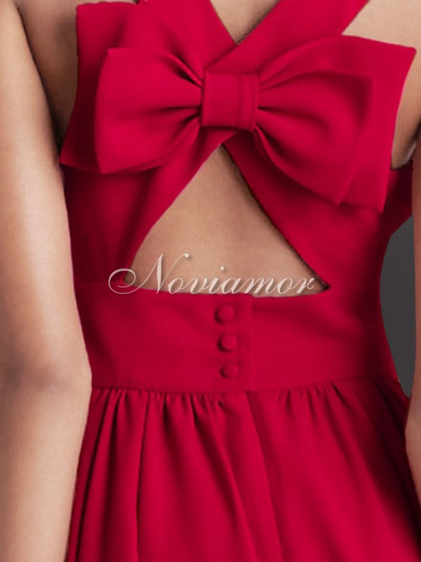 noviamor red cross back bow short prom party image