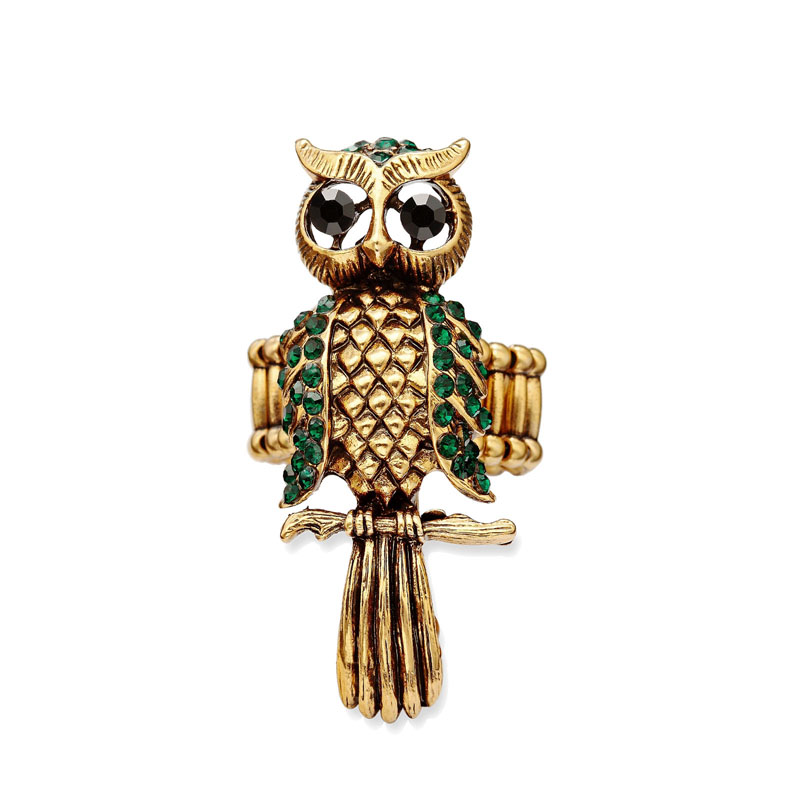 cocktail owl ring, crystal owl ring, gold owl ring and owl rings
