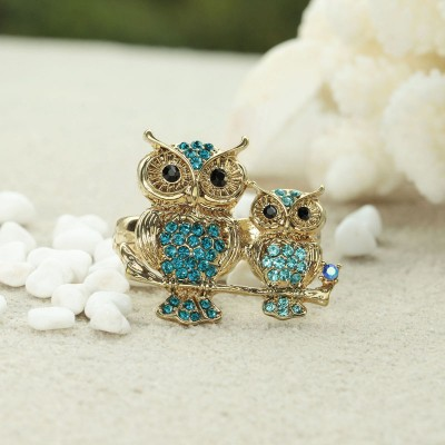 cocktail owl ring, gold owl rings, gold owl two finger rings and owl rings