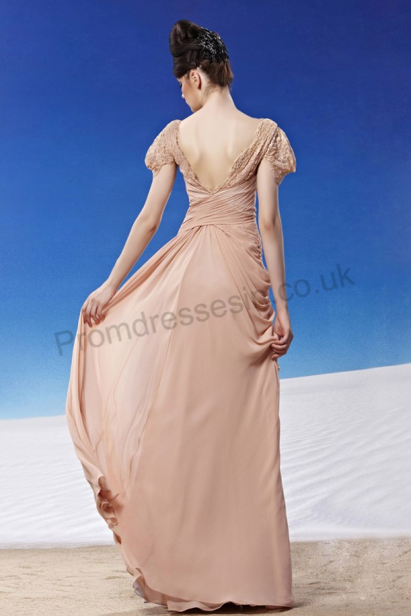pink cap sleeves low back chiffon prom dress image