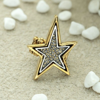 gold punk star rings, gold star jewelries, gold star stretch rings and punk rhinestone star rings