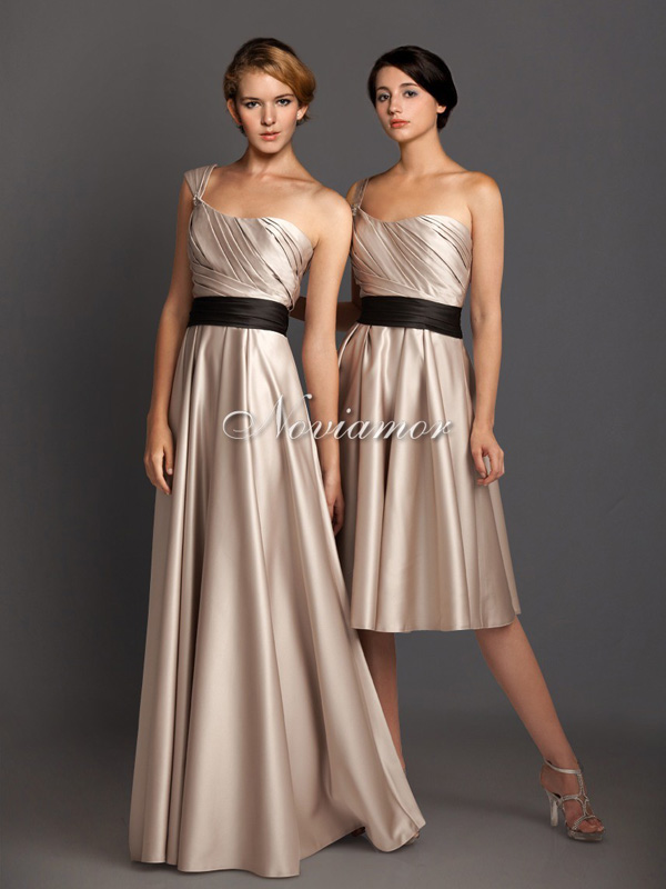 noviamor formal prom evening dress cheap, unique one shoulder sash short and long bridesmaids dresses gowns 2013
