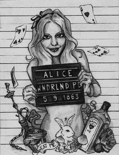 alice in the wonderland beautiful black and white